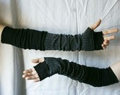 Extra Long Creased Black Dark Grey Arm Warmers Gloves Fingerless Upcycled Clothing Funky Wrapped Wrists Cuffs Eco Style Woman's Clothing - cutrag