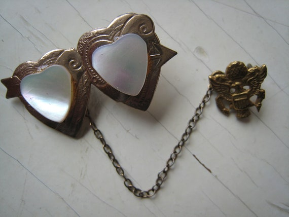 Double Heart Mother of Pearl US Army 1950s Vintage Sweetheart Pin