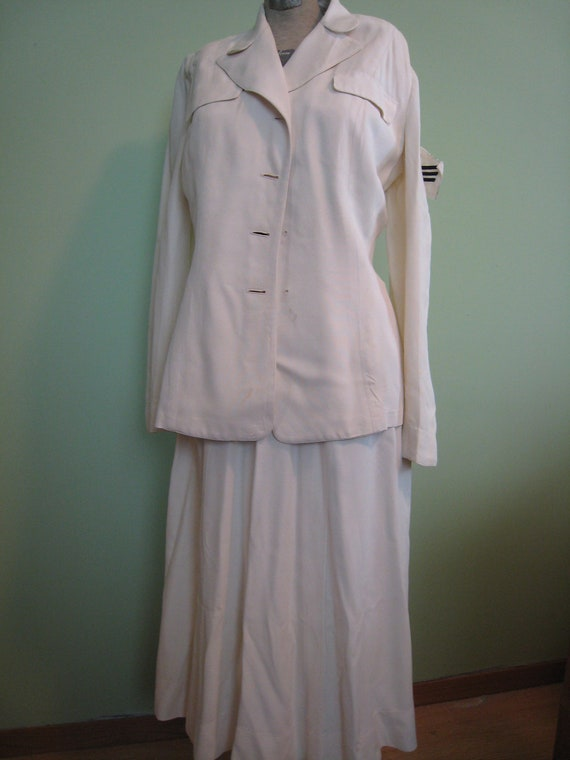 WAVE Shopkeeper Whites Uniform Skirt and Blazer Set 1950s Vintage