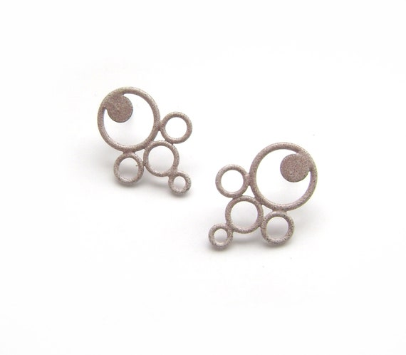 SALE 50 % OFF granite grey circle post earrings, recycled wire