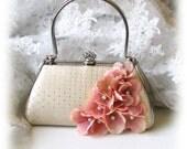 Wedding clutch, Ivory, Blush, Bridal clutch, Swarovski crystal clutch, vintage inspired clutch, bridal evening bag, bridesmaid clutch