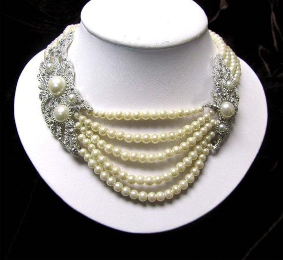 Wedding jewelry, wedding necklace,Victorian Ivory pearl,Swarovski rhinestone bridal necklace, Bridal jewelry , Bridal pearl necklace.