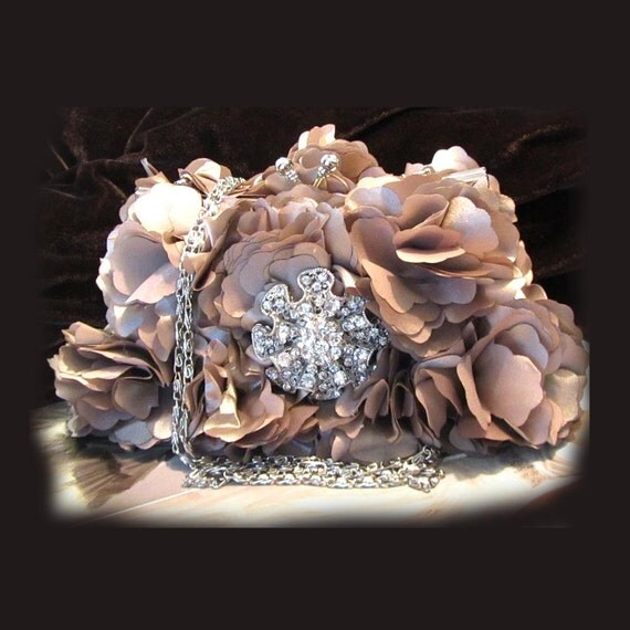 Bridal clutch, Taupe wedding clutch, bridesmaid clutch, bridesmaid evening bag, Special SALE
