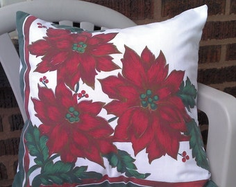 Christmas Throw Pillow Cover, Red Poinsettias, Upcycled 18 Inch Square Eco Friendly, Accent, Toss, Decor, Scatter Pillow