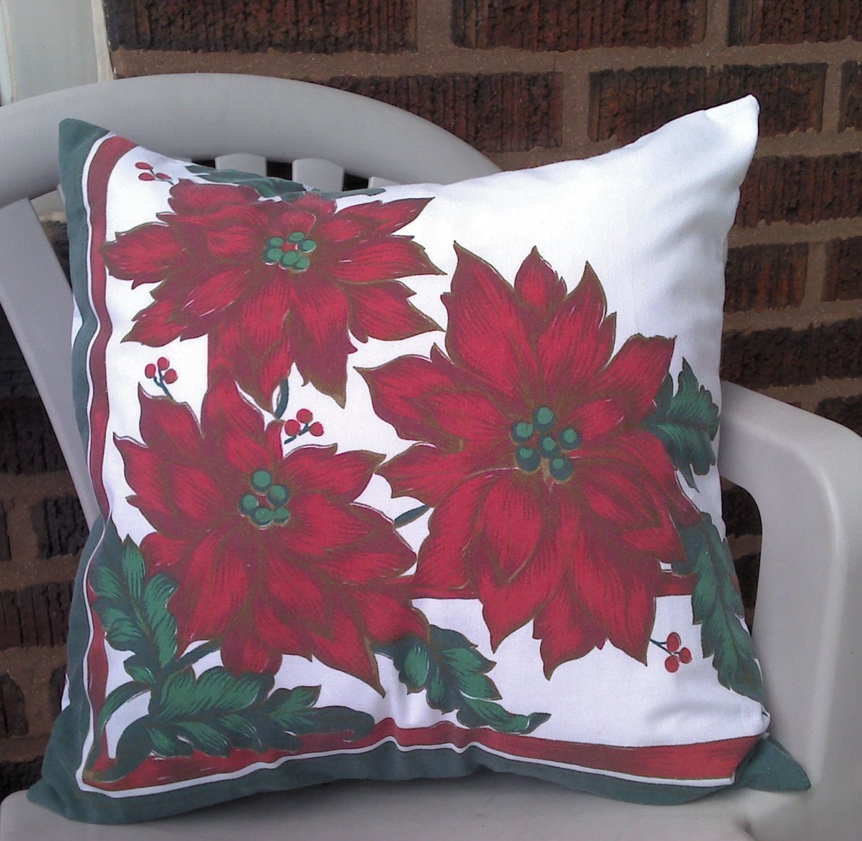 Christmas Throw Pillow Cover Red Poinsettias Upcycled 18