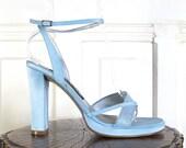 Vtg 90s Baby Blue Satin Pumps / Glittery Iridescent High Heel Shoes / Women's Size 7.5 US - 38 Eur - 5 UK