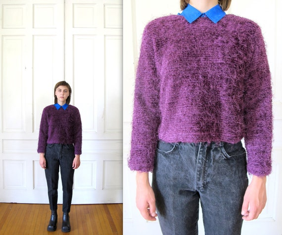 Vtg 90s Cropped Fuzzy Knit Sweater / Eggplant Crop Top / Club Kid Sweater