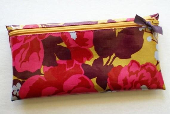 Cash budget envelope system wallet with 6 tabbed dividers // mustard, eggplant, crimson, dark pink designer laminated cotton