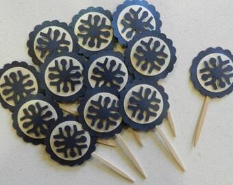 Blue Metallic Snowflake Cupcake Toppers Christmas
