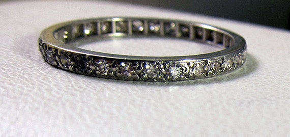 Antique Deco Platinum Diamond Eternity .30 carat Diamond Band Size 5