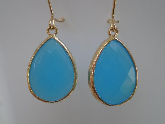 Beautiful Caribbean Blue Teardrop Earrings