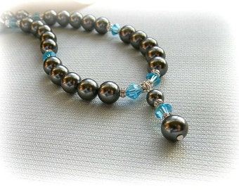 Swarovski Bridesmaid Necklace Charcoal pearl and Blue crystals White Platinum Bordeaux Lavender