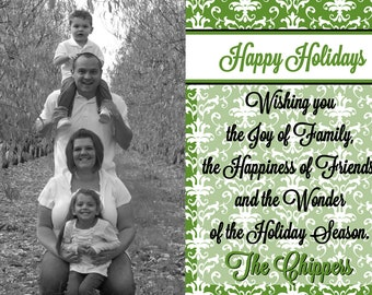 Elegant Green Christmas Card with Photo 5x7 or 4x6