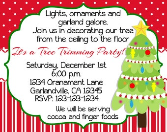 Christmas Tree Trimming Party Invitation Print Your Own 5x7 or 4x6