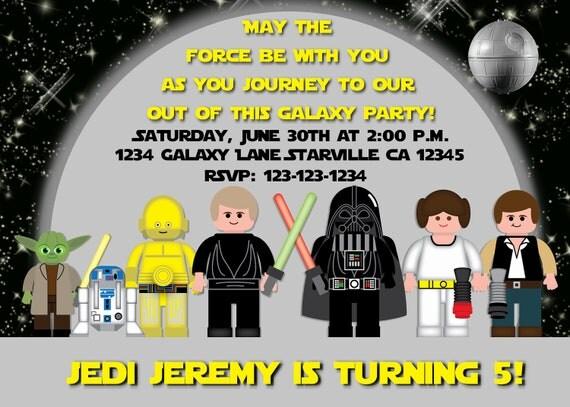 Amato Star Wars Jedi ispirato invito compleanno con foto opzione FF39