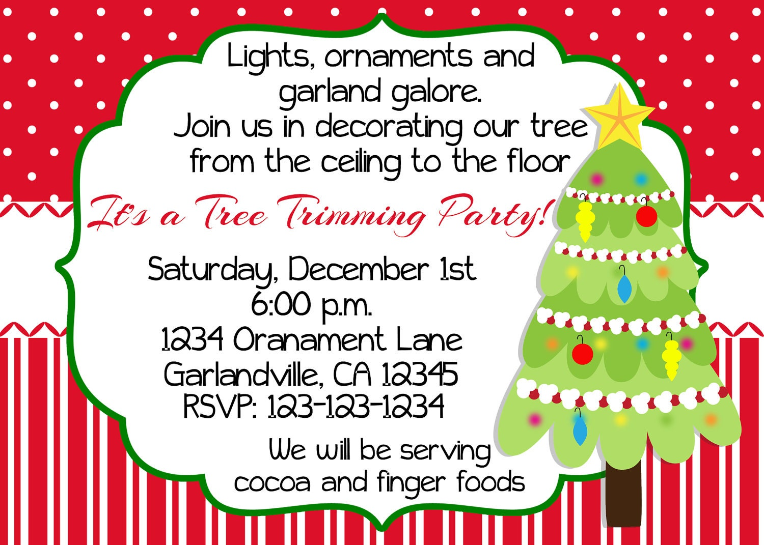 Christmas tree trimming party invitation print your own 5x7 or Sample christmas tree decorating ideas