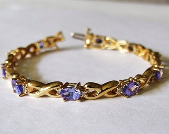 14k Genuine Tanzanite tennis bracelet w/ diamonds Solid yellow gold / Estate 7: Retail Valued 1900 USD