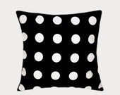 "Decorative Black Cotton Throw pillow case with large White Polka Dots, fits 18"" x 18"" insert,  Cushion case, Toss pillow case."