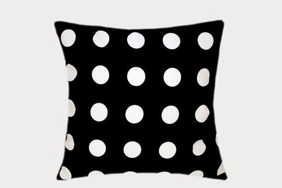 Black Cotton Throw Pillows : Decorative Black Cotton Throw pillow case with large White