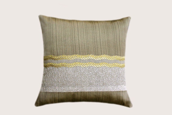 Decorative Pillow Case Gold Green Decorative fabric