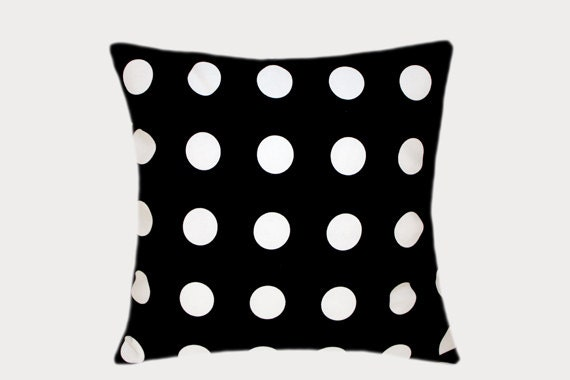 Large Off White Throw Pillows: Decorative Black Cotton Throw Pillow Case With Large White