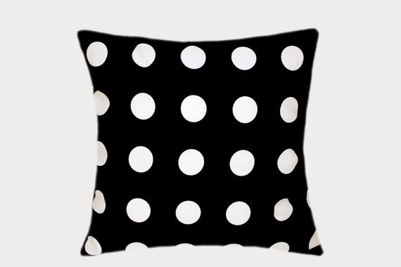 Decorative Black Cotton Throw Pillow Case With Large White