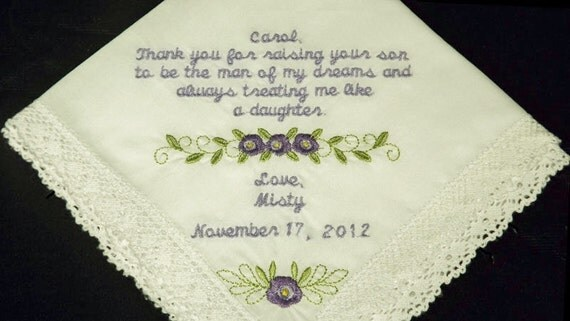 Personalized Mother of the Groom Embroidered Wedding Handkerchief