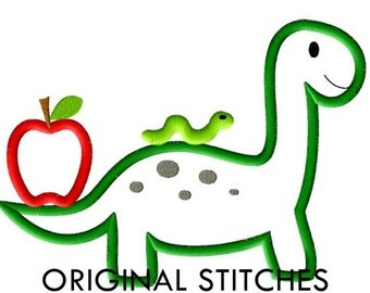 Back to School Dino Applique and Machine Embroidery Digitized Design File 4x4 5x7 6x10