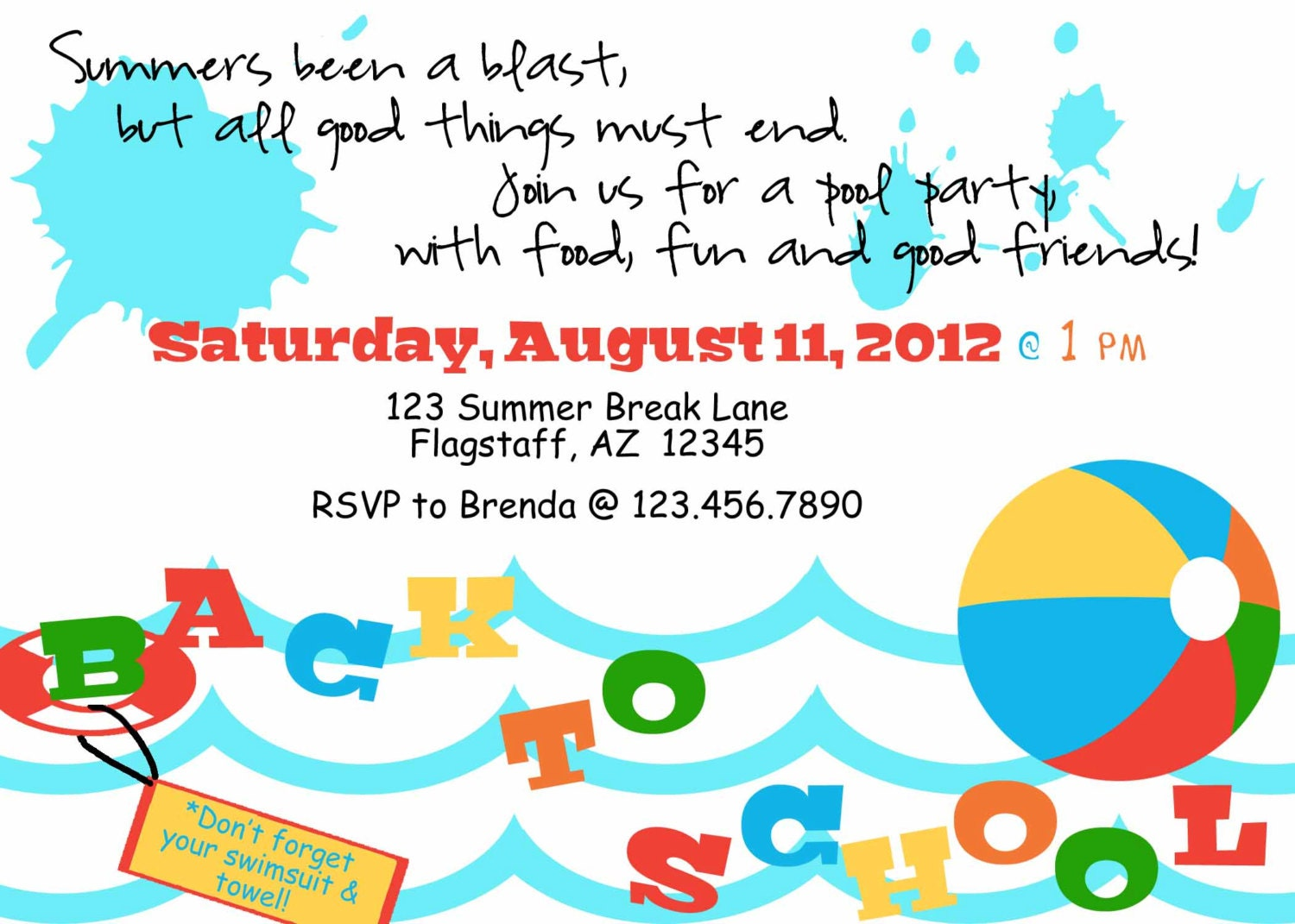 Swimming Pool Birthday Party Invitation Wording.44 Best Images About ...