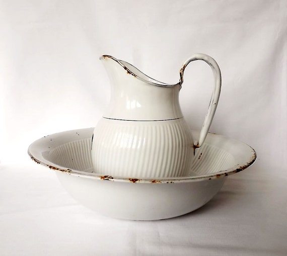 White enamel pitcher and bowl, jug and bowl