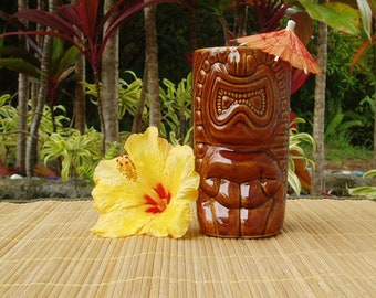 Vintage Tiki Souvenir Drinking Glass by Daga Hawaii