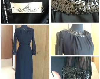 Paree Frocks Formal Glam Black Dress Sequined Collar and Sleeve Detail S M So Mad Men Style
