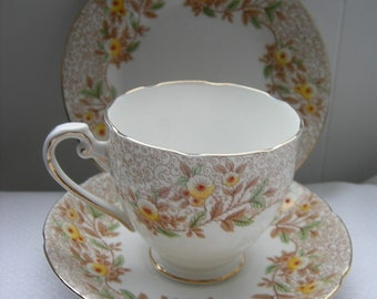 VINTAGE China Trio Cup & Saucer Grafton Hand Painted 1930s Art Deco Flowers English