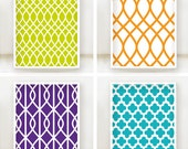 Moroccan Dream Pattern Prints - Set of 4 - 8x10 Poster - Bold Bright Teal, Tangerine, Purple and Lime