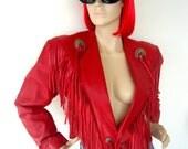 Vintage Red CROPPED WESTERN FRINGE Leather Jacket 80s 90s Amazing