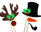 Christmas Photo Booth Props - 5 piece set - GLITTER Photobooth Props - Rudolph and Frosty