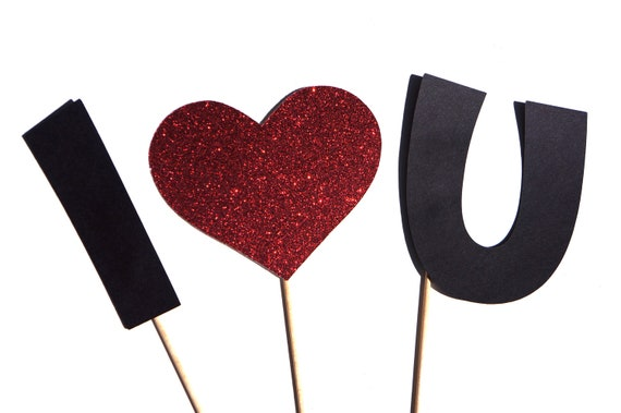 Photo Booth Props - I Love You - 3 Piece Set - GLITTER Photobooth Props - Great for weddings