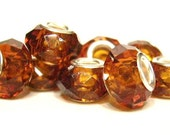 5 Topaz, 925 stamped, Crystal Cut, European Charm Bracelet  Beads - Euro, Faceted, Glass