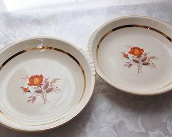 Antique The Paden City Pottery Orange Rose Serving Bowls - Warranted 22K Gold