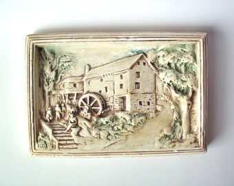 Vintage Chalkware Wall Plaque of an Old Mill