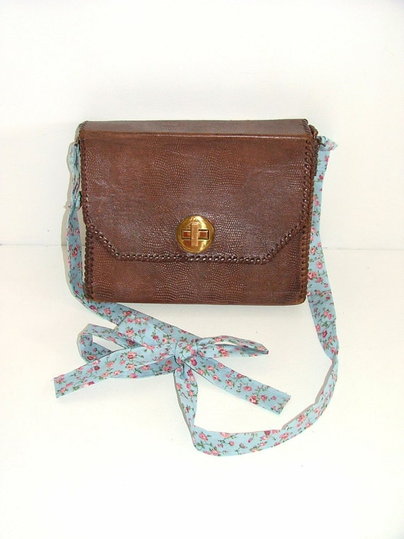 Reworked vintage brown leather lizard snakeskin effect satchel boxy box bag with floral fabric bow strap