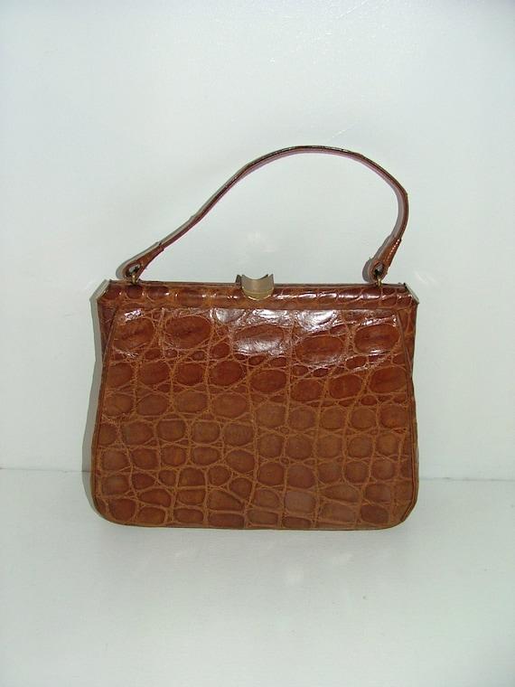 Vintage real brown tan crocodile skin leather large kelly handbag grab bag suede lined