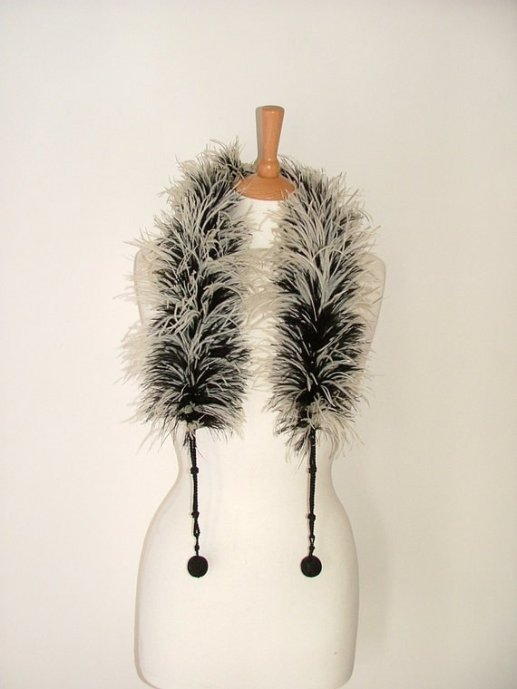 Vintage Art Deco flapper style ostrich marabou feather boa collar scarf black white with ball rope fasteners burlesque