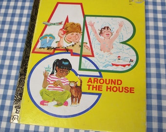 abc around the house, vintage 1980 children's little golden book