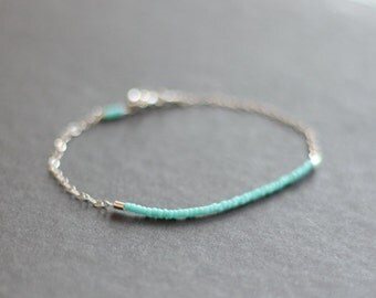 mini mint turquoise - lucky sterling silver delica bracelet