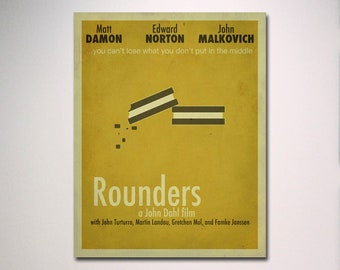Rounders Minimalist Movie Poster / Poker Room / Movie Room / Minimal Wall Art