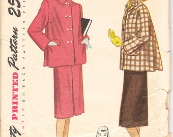 1947 Printed Sewing Pattern Simplicity 2150 Teen-age Suit size 14