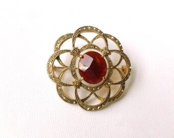 Monet Designer Signed Brooch Retro Red Vintage Swirly Fashion Holiday Jewelry