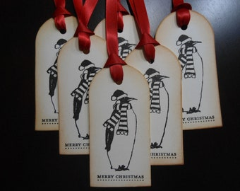 Funky Penguin Merry Christmas Gift Tags