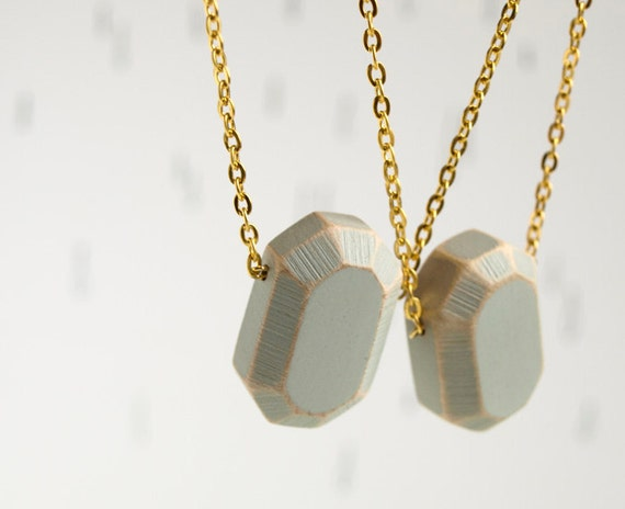 wood Diamond. geometric necklace. concrete grey faceted pendant on gold tone chain. Handcrafted wooden gemstone.